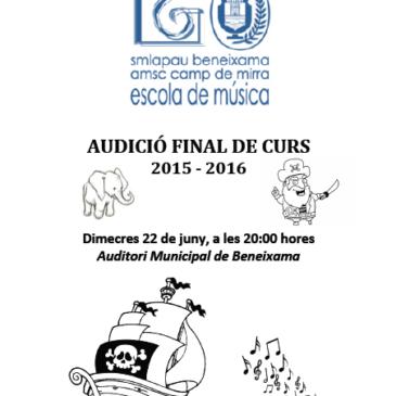 Audició de fi de curs 2015/2016