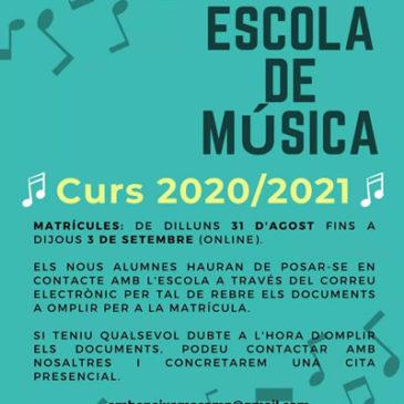 Escola de música – matrícules curs 2020/2021